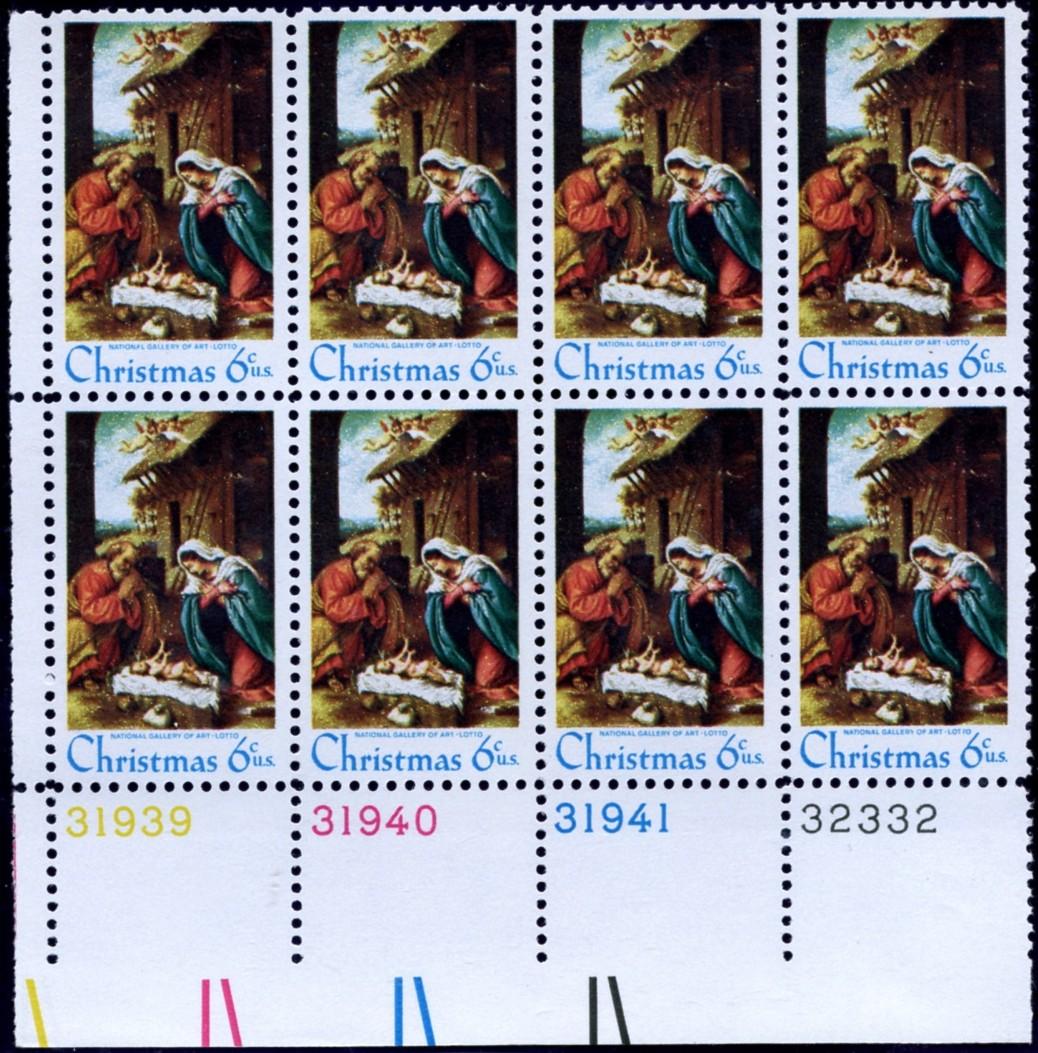 Scott 1414 6 Cent Stamp Christmas Manger Scene Plate Block