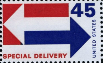 Scott E22 45 Cent Special Delivery Stamp Arrows A