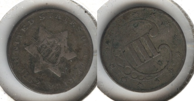 1852 Three Cent Silver F-12 #d Obverse Scratch