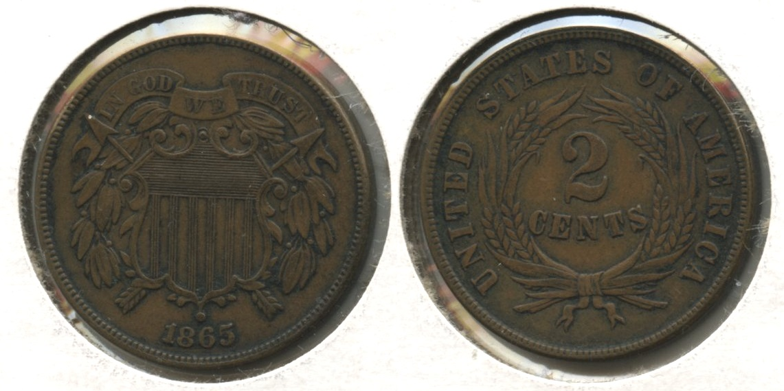 1865 Two Cent Piece EF-40 #i